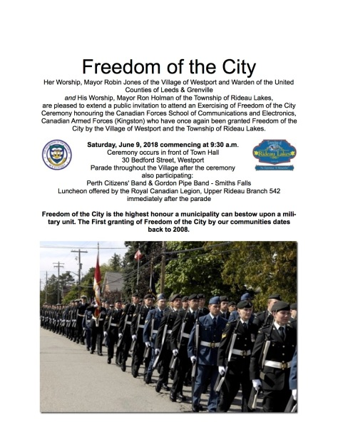 Freedom of the City 2018 advertisement + legion
