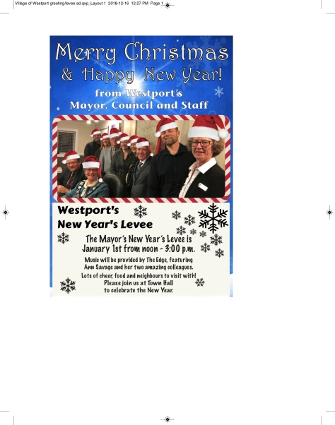 Village of Westport greeting-levee ad