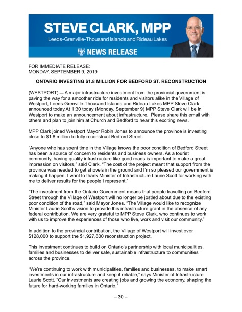 Release - Ontario investing $1.8 million for Bedford Street reconstruction