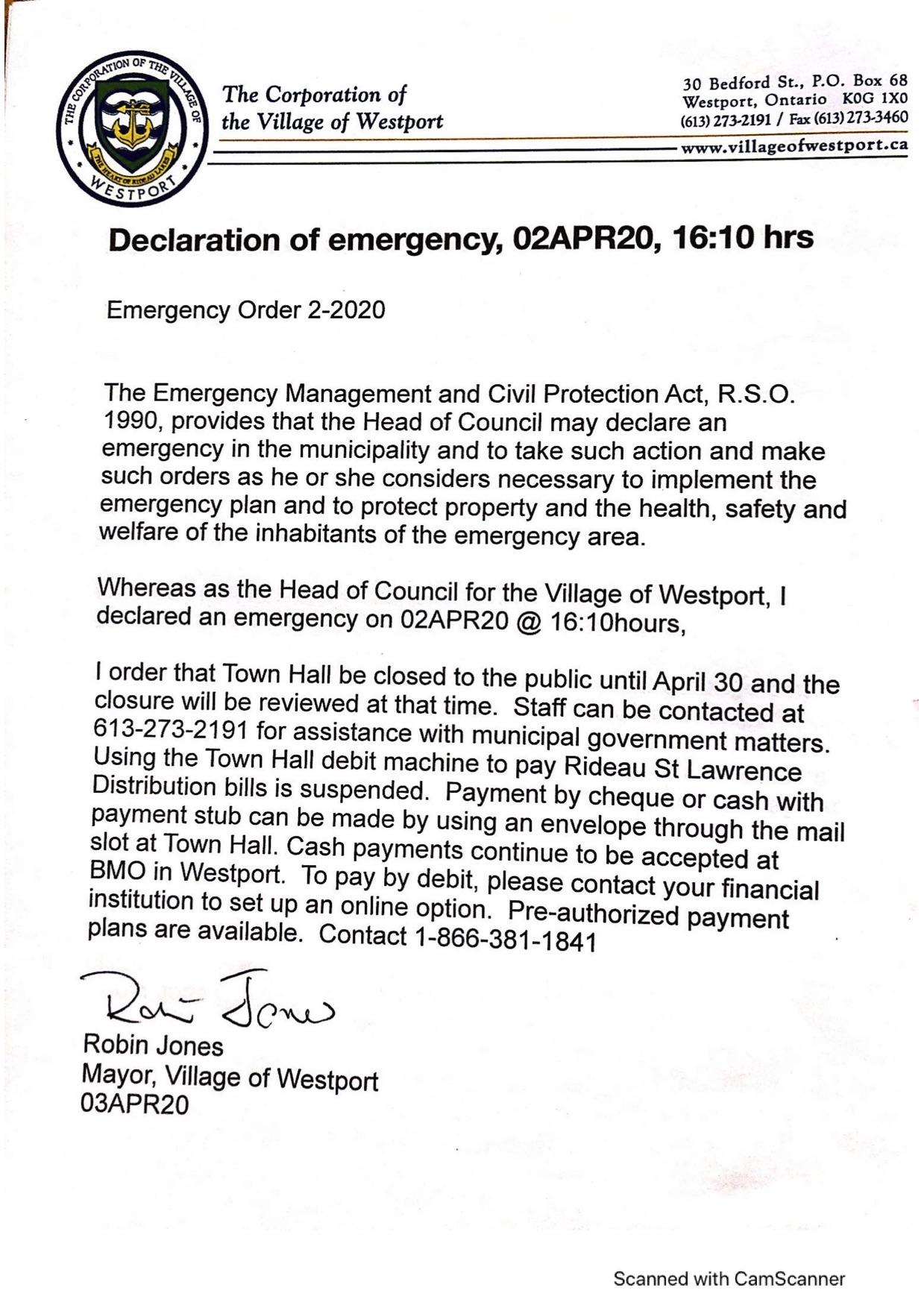emergency order #2