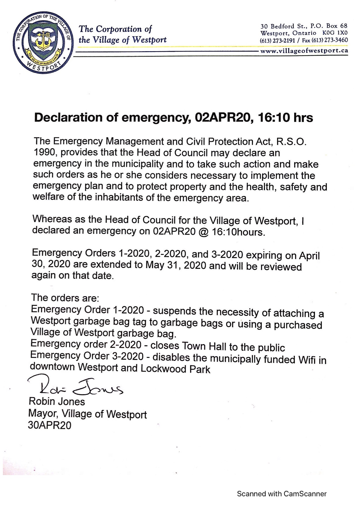 Extension of Emergency Orders 01MAY20
