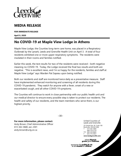 News Release - No COVID at MVL - April 9 2020 copy
